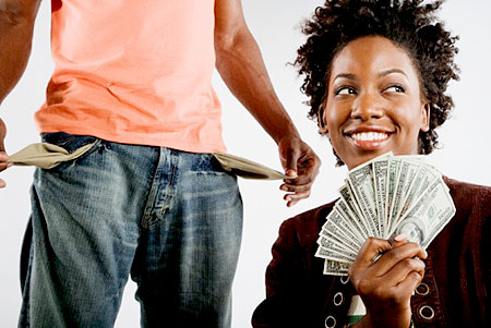 a woman with her man's money